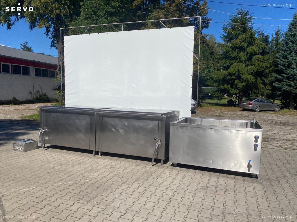 Zestaw 2 kotłów parowych plus pojemnik do schładzania Doleschal 2x600l
