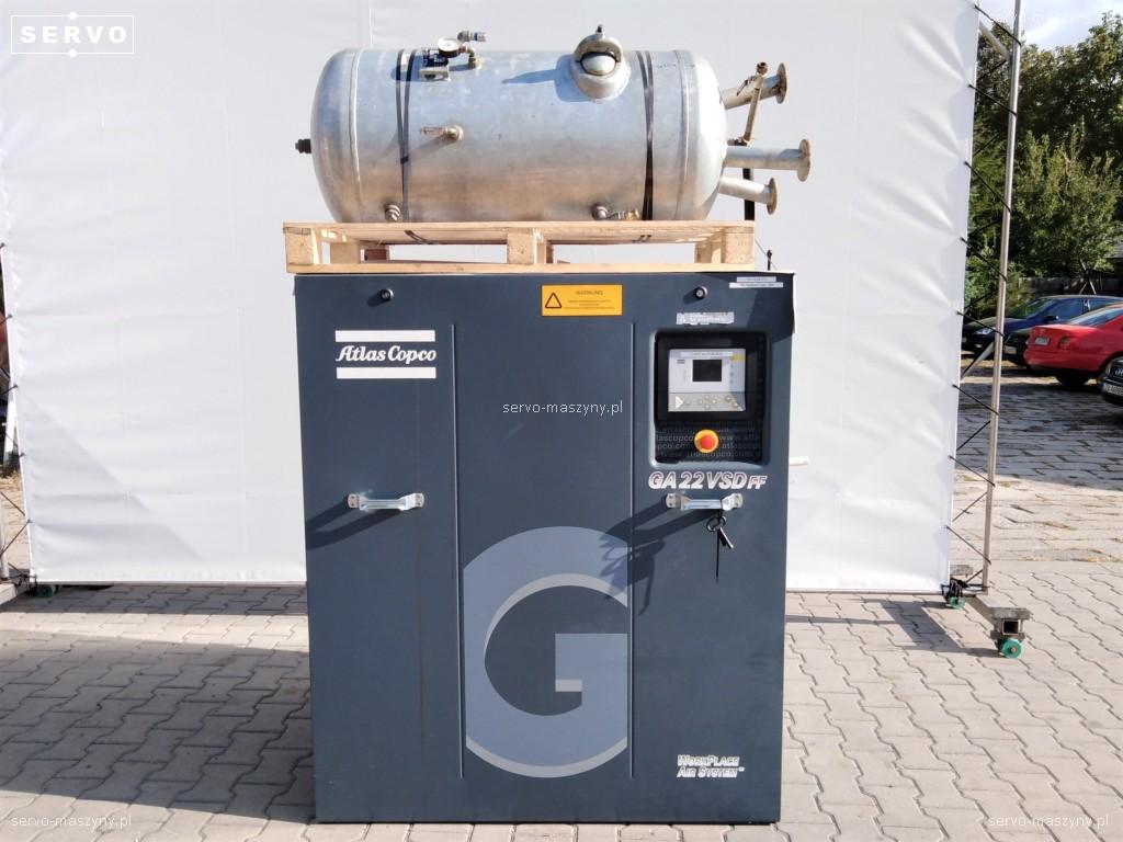 Kompresor śrubowy Atlas Copco GA22VSD + zbiornik OKS 270 L